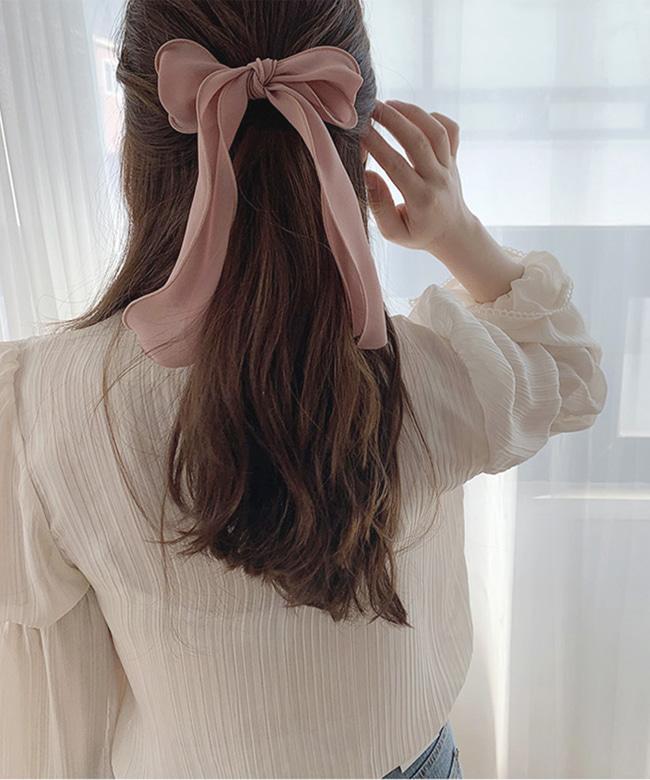 쉬폰 롱 리본 머리끈